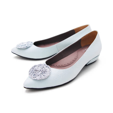 PQ (女) 尖頭圓扣娃娃鞋 女鞋 -水藍(另有灰藍)