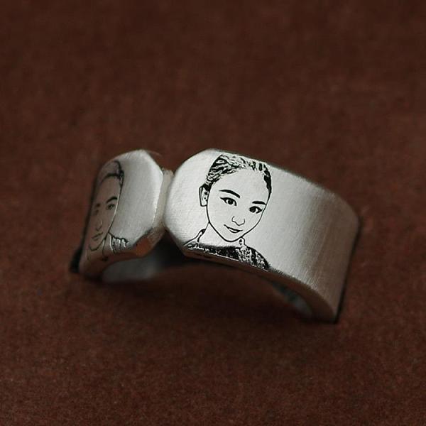 情侶一對戒指定制創意雕刻字純銀男女開口簡約學生照片禮物首飾品 瑪麗蘇DF