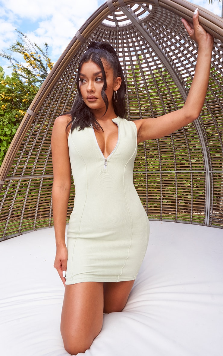 Sage Green Thick Rib Contour Detail Zip Neck Bodycon Dress
