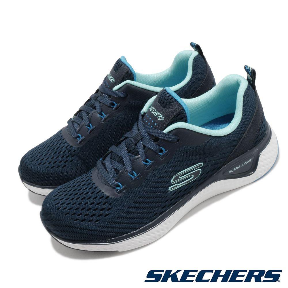 SKECHERS 慢跑鞋 Solar Fuse 運動休閒 女鞋 輕量 避震 緩衝 記憶型泡棉鞋墊 透氣 藍 白 [149051NVBL]