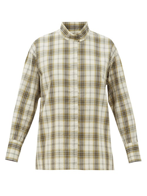 Chimala - Stand-collar Plaid Cotton-blend Shirt - Womens - Ivory