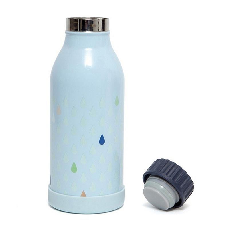 不鏽鋼水壺-粉藍水滴點點