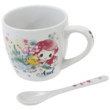 迪士尼 公主 陶瓷馬克杯附湯匙《粉綠.水彩風》茶杯.咖啡杯