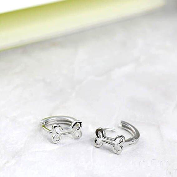 PurCoeur 925純銀 俏皮可愛創意動物狗骨頭耳環