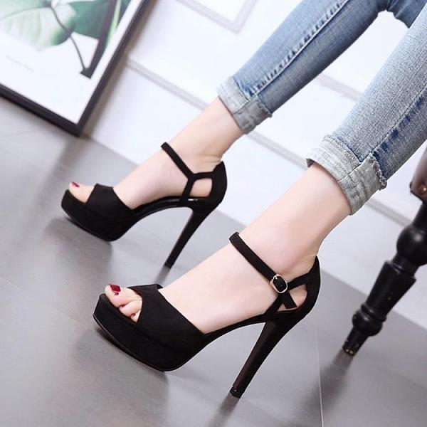 特惠 12CM高跟鞋女夏新款韓版超高跟細跟防水臺一字扣帶露趾女涼鞋