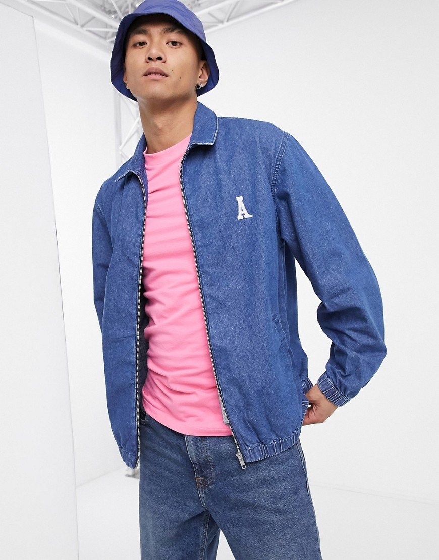 ASOS Actual denim harrington jacket in dark wash blue