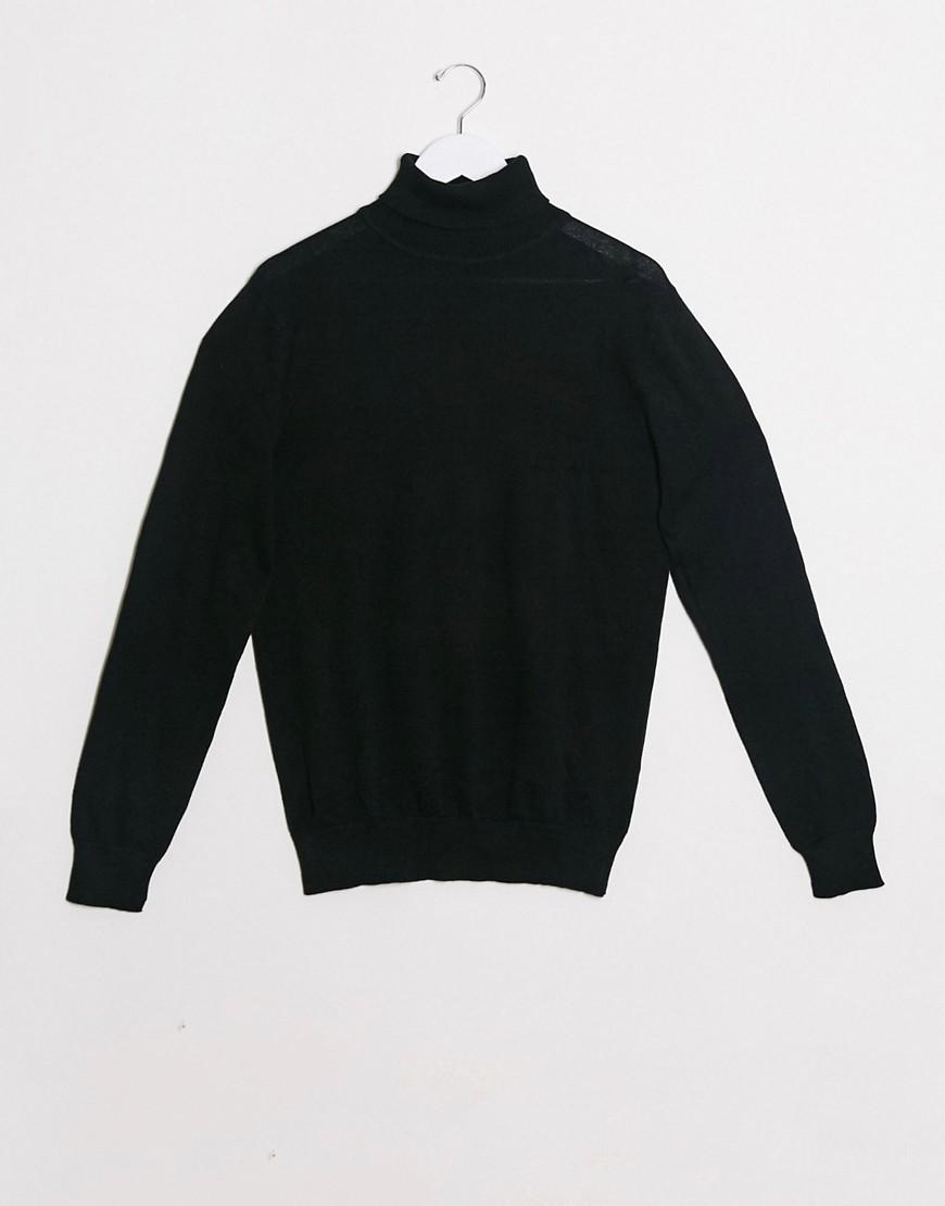 Brave Soul 100% cotton roll neck jumper in black