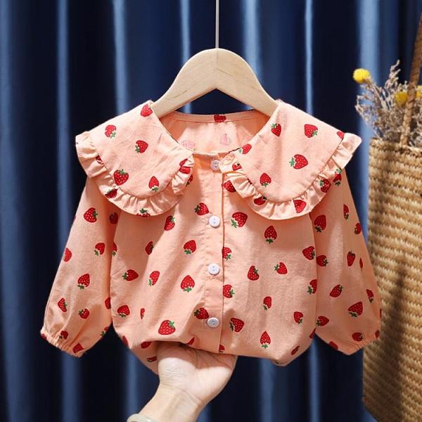 女童襯衫韓版純棉公主風碎花上衣兒童春秋薄款長袖娃娃領洋氣襯衣 童趣潮品