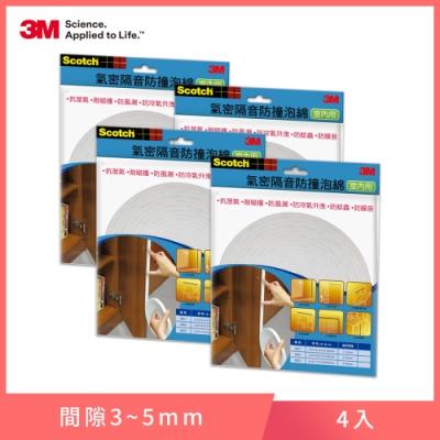 3M 室內用氣密隔音防撞泡棉-間隙3~5 mm (6602)-4入組