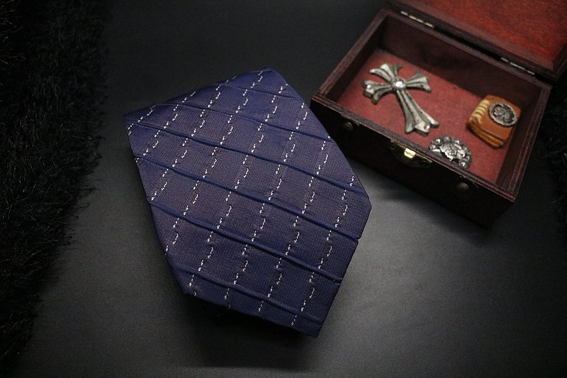 藍色立體線條英倫風領帶/時尚型男necktie