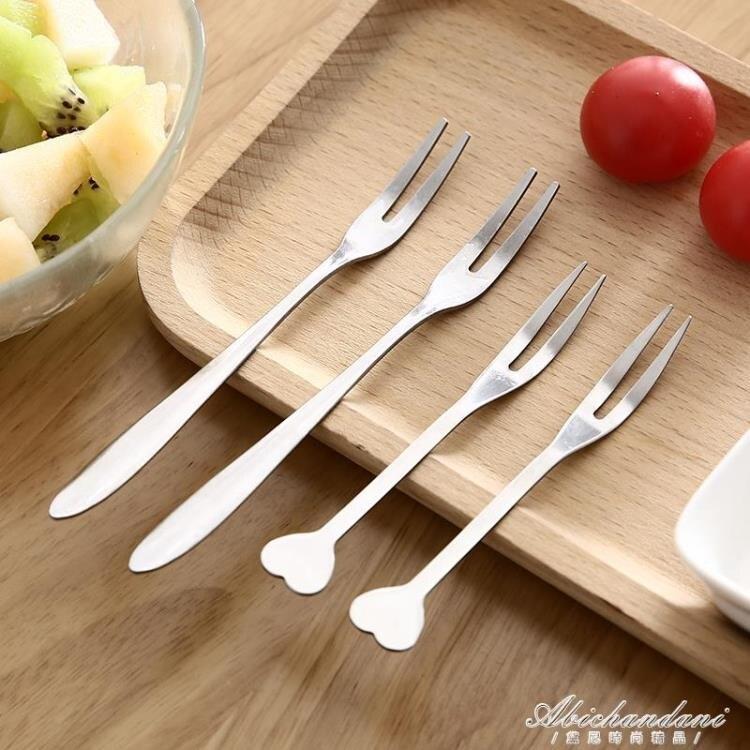 10支裝 加厚不銹鋼小叉子兒童水果叉創意韓國西餐沙拉蛋糕二齒叉餐具套裝 黛尼時尚精品
