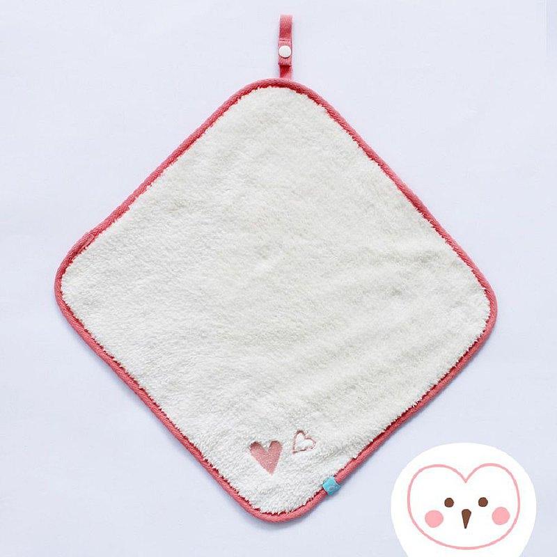 隨手掛擦手巾(30x30cm)-米白愛心