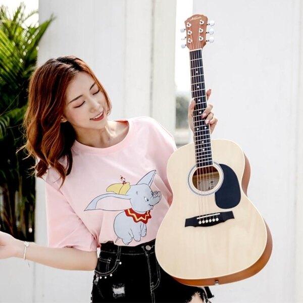 吉他 40寸41寸民謠單板吉他38寸36寸圓角男女左手考級電箱吉他[優品生活館]