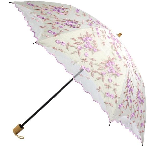 集成二折疊蕾絲刺繡花黑膠復古防紫外線防曬遮陽太陽傘晴雨洋傘