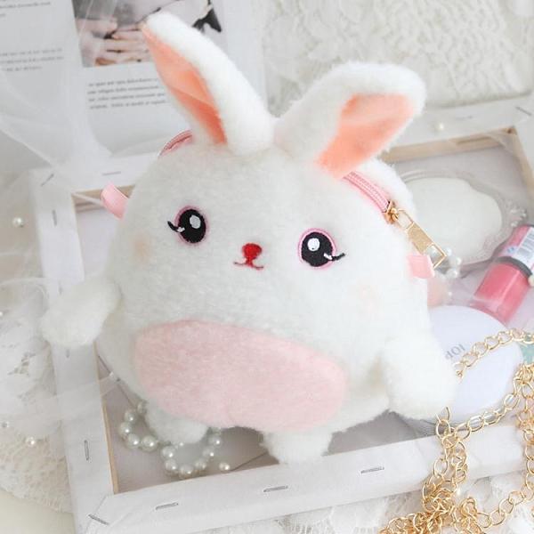 降價兩天 原創 可愛小白兔休閒包包 秋冬萌系熊貓兔子型包包 毛絨包 鏈條單肩斜挎包