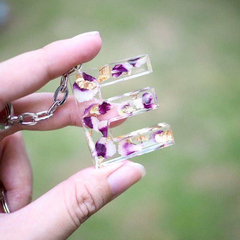 金箔定製手工製作紫色花卉會標鑰匙扣