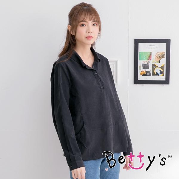betty's貝蒂思 襯衫領半開釦長袖上衣(黑色)