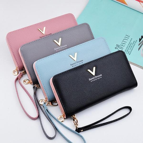 長夾 錢包女長款韓版手拿包女士多功能小清新零錢卡包拉鏈大容量手機包  卡洛琳