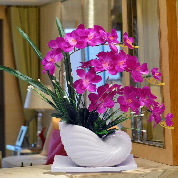 蝴蝶蘭仿真花套裝擺件家居客廳室內茶幾電視櫃假花盆栽裝飾花擺設ATF