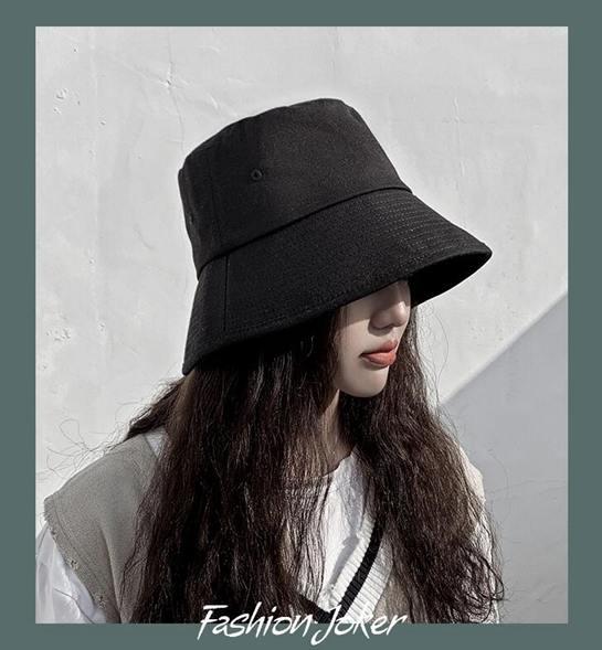 網紅黑色漁夫帽女夏天韓版潮百搭日系防曬紫外線遮陽太陽帽子盆帽全館促銷限時折扣