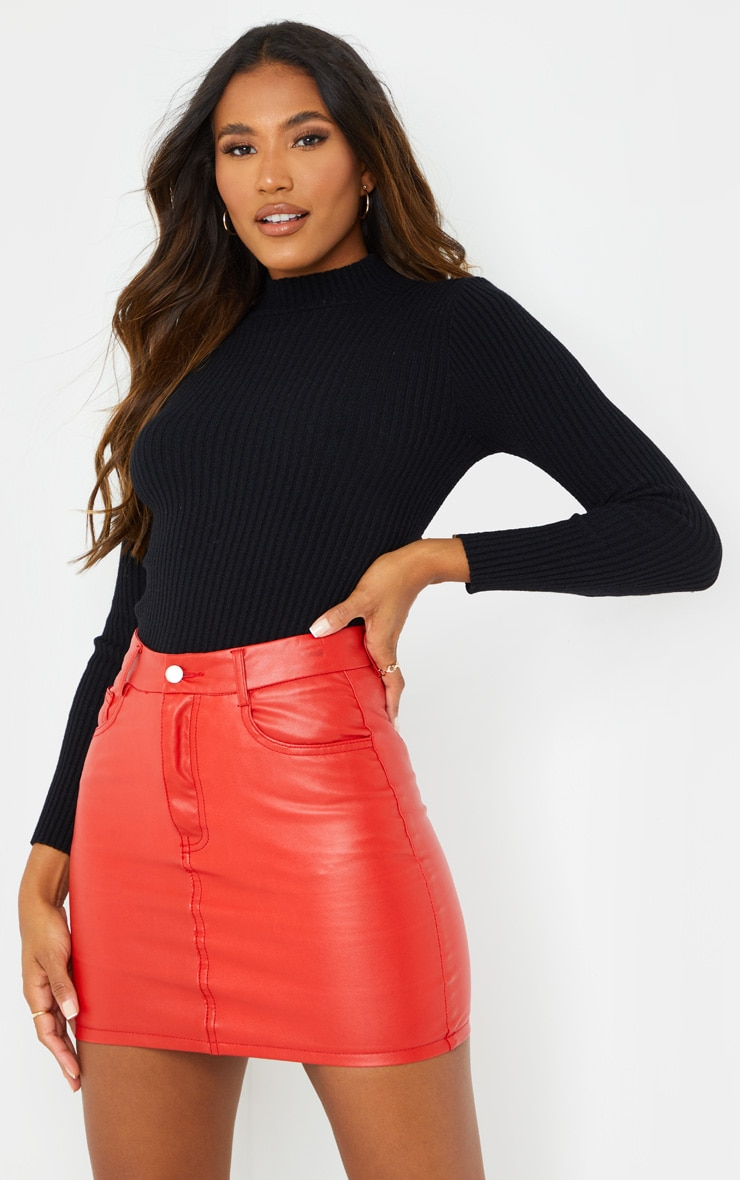 Red Basic Faux Leather Mini Skirt