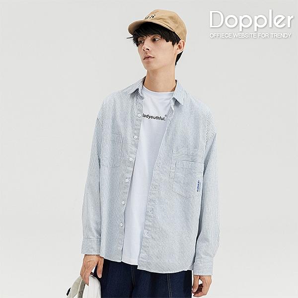 長袖襯衫 日系條紋雙口袋造型 小落肩休閒襯衫【TJLC3012】Doppler 現貨+預購