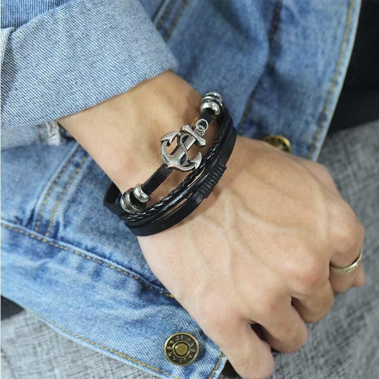 【5折超值價】潮流時尚船錨多層編織造型男款鈦鋼皮手環