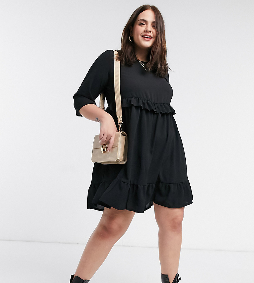 Yours frill layer smock dress in black