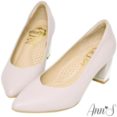 Ann'S上班族必備-小羊皮顯瘦V口電鍍尖頭粗跟包鞋-紫