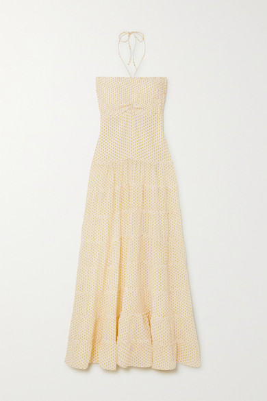 Evarae - Phoebe 分层式真丝双绉挂脖超长连衣裙 - 黄色 - x small