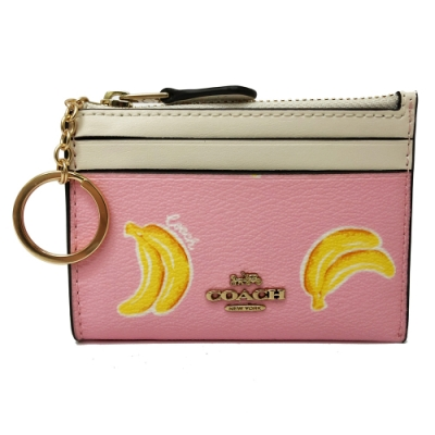 COACH 悠遊卡鑰匙零錢包(香蕉/粉)