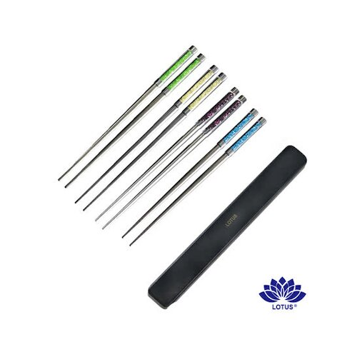 【LOTUS 水晶】彩晶筷20.5cm-附收納盒-(波爾多紫、萊姆綠、檸檬黃、天空藍)