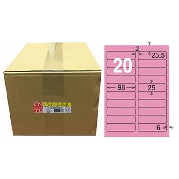 【龍德】A4三用電腦標籤 25x98mm 粉紅色 1000入 / 箱 LD-812-R-B