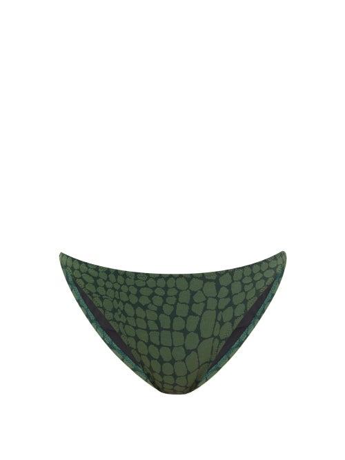 Issimo X Solid & Striped - The Tati Crocodile-jacquard Bikini Briefs - Womens - Dark Green