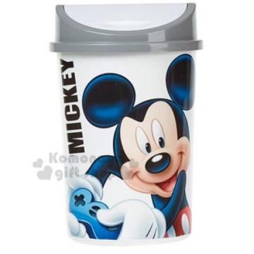 〔小禮堂〕迪士尼 米奇 圓形平衡蓋垃圾筒《白灰.4.5L.紙屑筒.收納筒》