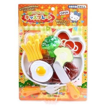 Hello Kitty 西式漢堡排套餐玩具組《綠橘.泡殼裝》兒童玩具.扮家家酒