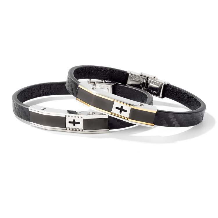 【5折超值價】潮流時尚十字造型鈦鋼皮手環