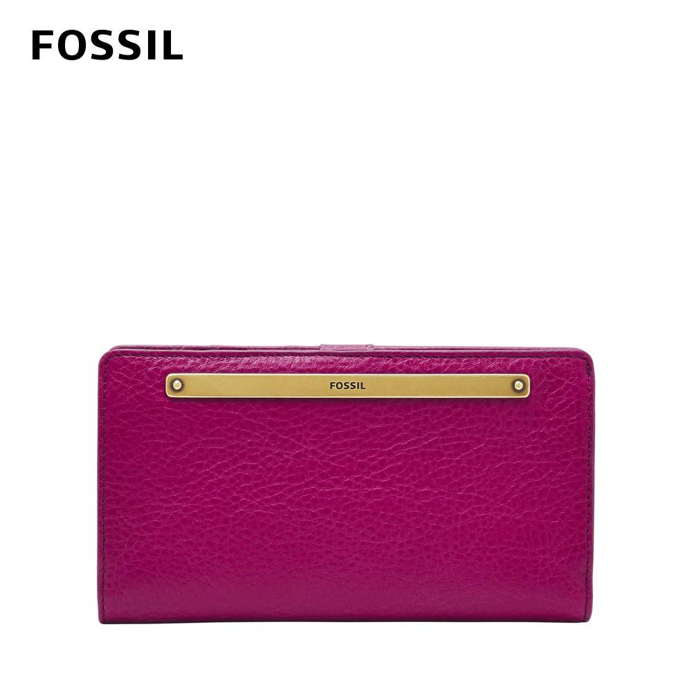 FOSSIL Liza 輕巧型真皮零錢袋長夾-洋紅色 SL7891508