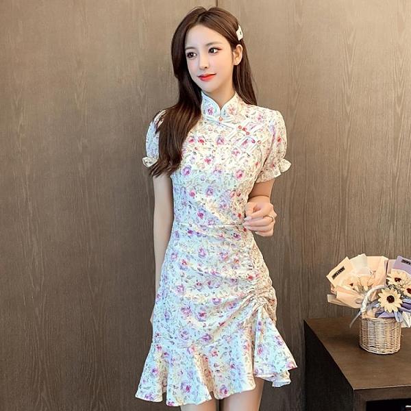 旗袍 夏季新款法式氣質改良旗袍碎花