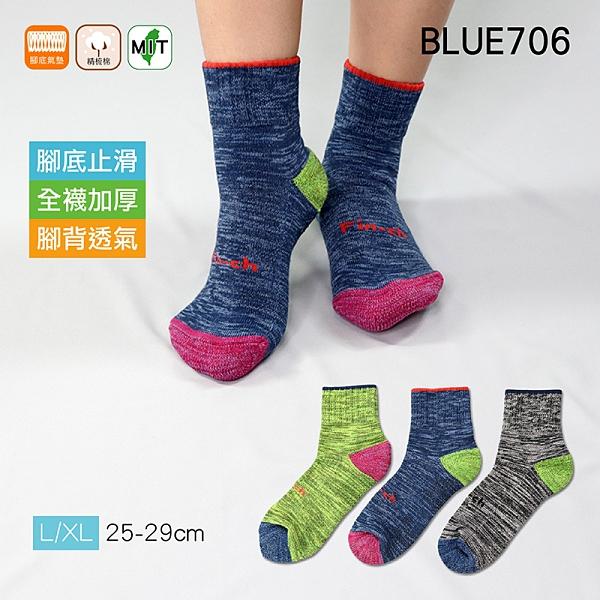 《BLUE706》厚實氣墊止滑短襪 全襪加厚 腳背透氣 氣墊毛圈 運動襪 短襪