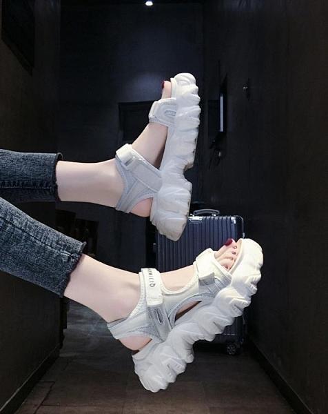 運動鬆糕鞋女潮夏2020年新款百搭休閒厚底鬆糕老爹仙女風羅馬鞋