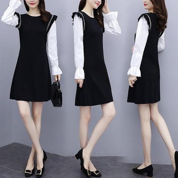 洋裝拼接裙中大尺碼L-4XL秋裝新款洋氣拼接減齡連身裙時尚顯瘦裙R027-889.依品國際