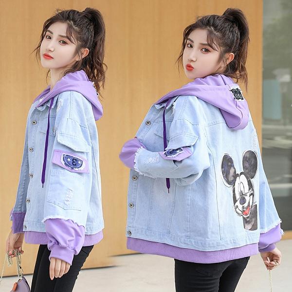 簡約女外套韓版外套 秋季拼接撞色夾克外套 百搭時尚女生外套 洋氣寬鬆女士外套 潮流女生外套