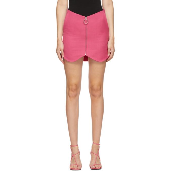 pushBUTTON SSENSE 独家发售粉色拉链羊毛短裙