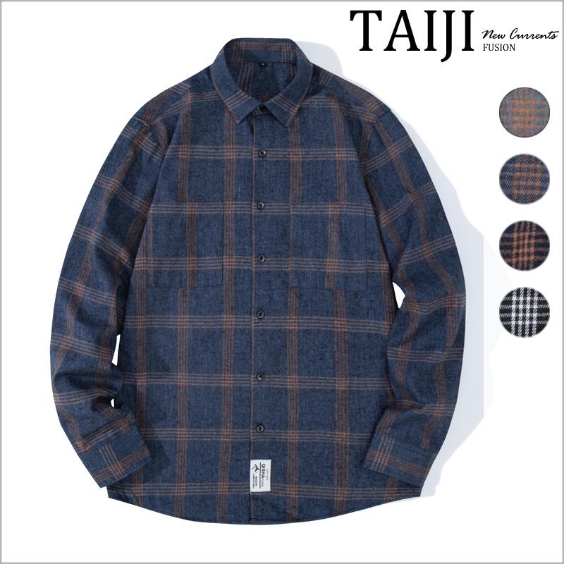 大尺碼格紋長袖襯衫‧雙口袋多線大格紋法蘭絨長袖襯衫‧4色‧加大尺碼【NTJB902】-TAIJI-