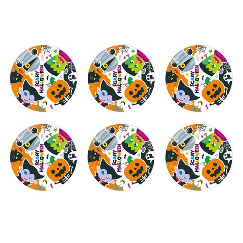 萬聖節 環圈驚嚇鬼臉圓形貼紙 (6枚) 【BlueCat】【HW0195】