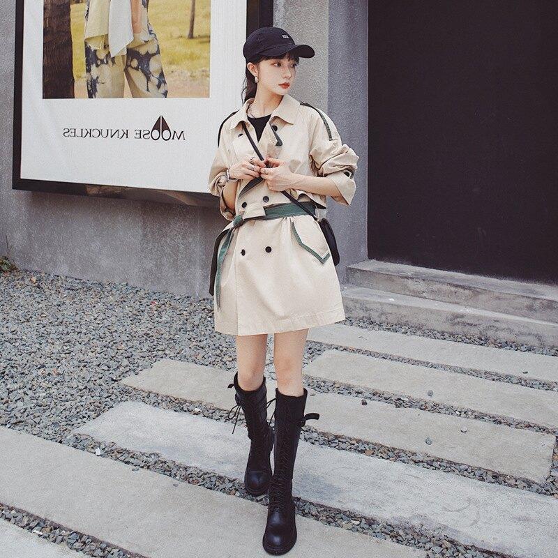 風衣外套長版大衣-拼色薄款休閒垂感女外套73yx19【獨家進口】【米蘭精品】