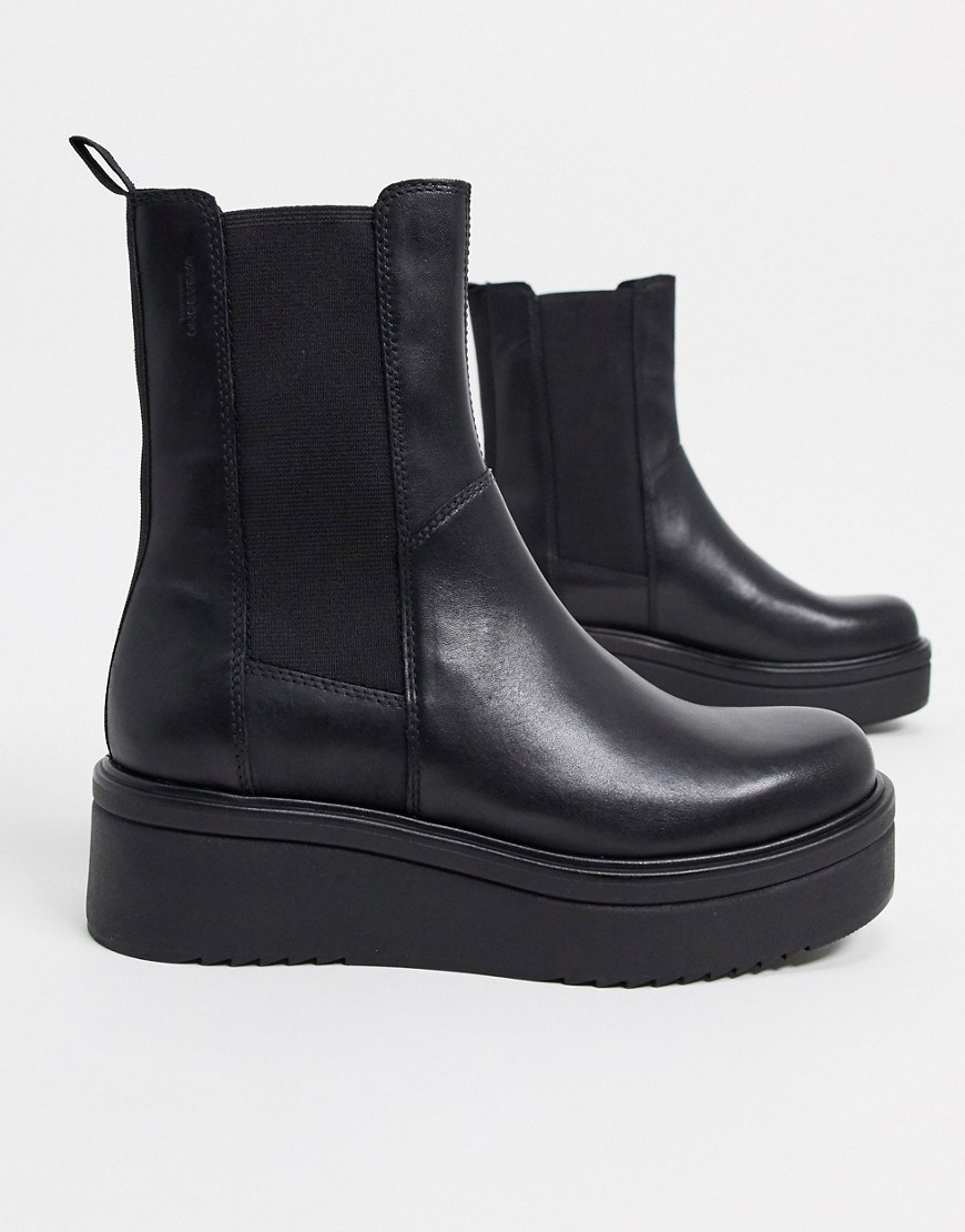 Vagabond Tara leather flatform chelsea boots in black