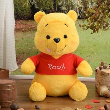 〔小禮堂〕迪士尼 小熊維尼 絨毛玩偶娃娃《M.黃.吐舌》擺飾.玩具