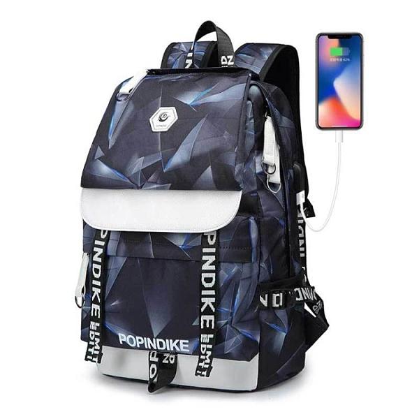 後背包 logo定制帆布雙肩包男usb電腦背包戶外旅行包學院風初中學生書包